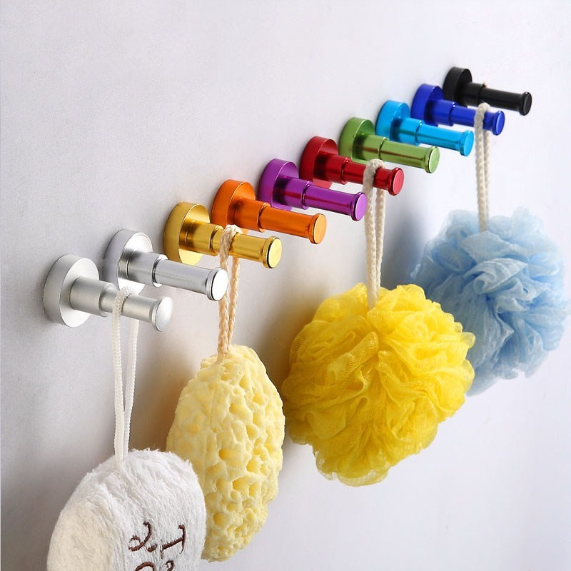 Wall Mounted Aluminum Finish Candy Color Clothes Hanger Towel Coat Robe Hook Decorative Bathroom Hooks