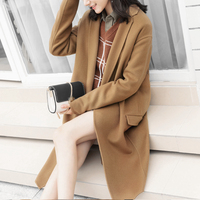 UNIQUEWHO Lady Women Long Loose Camel Wool Coats 100 Pure Wool Casual Warm Lapel Outerwear Spring