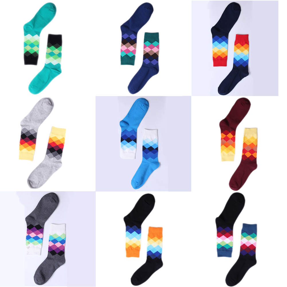 Casual Mens Cotton Colorful Geometry Socks Harajuku Gradient Color Business Dress Socks Diamond Plaid Long Socks 10 Colors