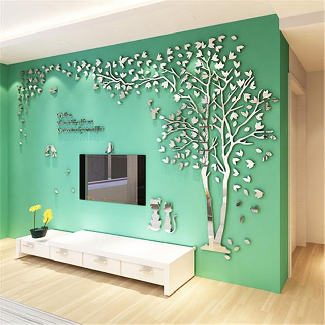Creative Cat Tree 3D Mirror Wall Stickers Living Room Bedroom Warm Home Decor DIY
