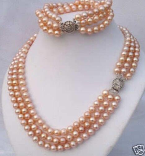 Belle 3 rangées noir 8-9 MM tahitien naturel collier de perles BRACELET EARRIN>>> filles ensembles de bijoux livraison gratuite