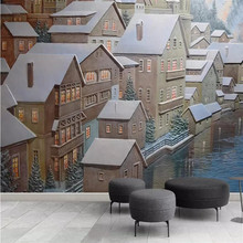 Embossed Cottage European Architecture TV Wall Manufacturers Wholesale Wallpaper Mural Custom Photo