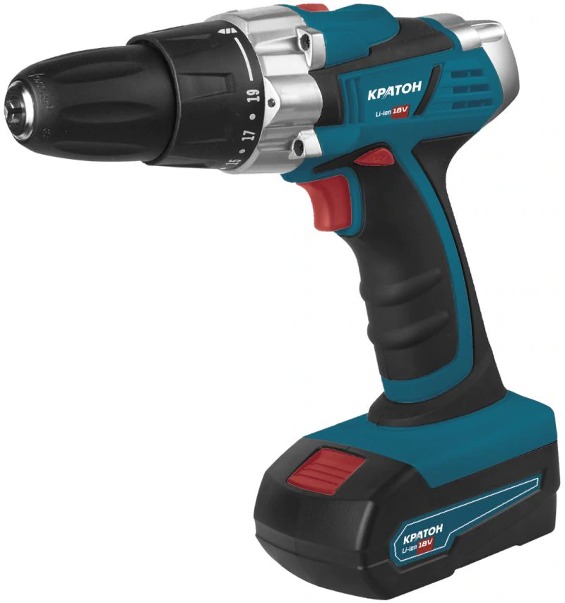 Drill-screwdriver rechargeable KRATON CDL-18-1-H cordless drill kraton cdl 12 2 h 12v 1 3 ah li ion 0 300 0 1050 min 15 9 nm in the case