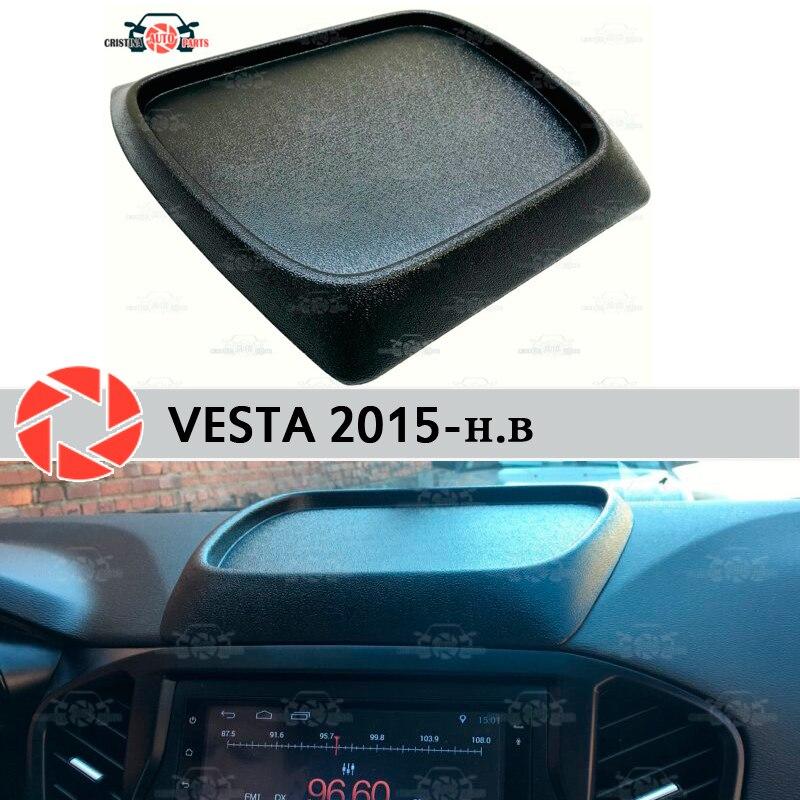 Para Lada Vesta 2015-organizador no console do painel frontal em plástico ABS estilo do carro acessórios de decoração de armazenamento de bolso em relevo