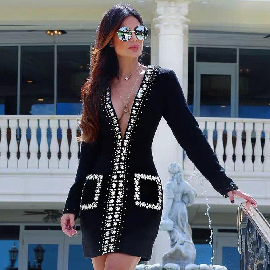 Pleine Neck Noire Party Manches Celebrity Femmes Profonde Zipper Black 2019 Diamant Nouveau Adyce Club Avant Robes Bandage V Robe vzB8Tqw