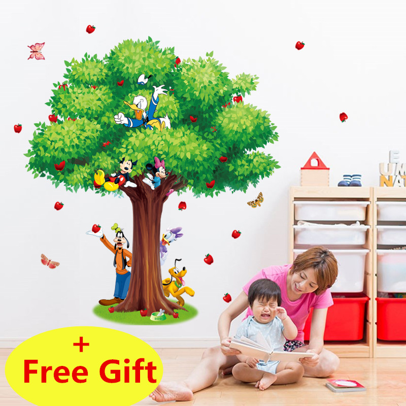 Cartoon Mickey Mouse Minnie Green Tree Wall Sticker Home Decoration Wall Decals For Kids Rooms Kindergarten Bedroom Wallpaper