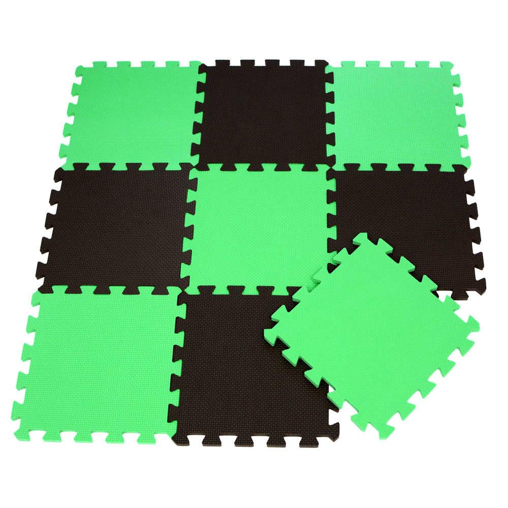 9 ชิ้น/ล็อต EVA Foam เด็กทารกเล่นเสื่อ 2 สีสีเขียว Series ปริศนาพรม Crawling พรม GYM การออกกำลังกายโยคะ 30x30x1 ซม.