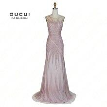 Real photos Long Evening dress Formal Full Crystal See through back illusion Fashion OL103030