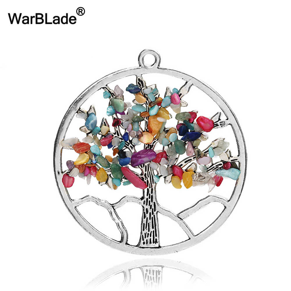 WarBLade Rainbow 7 Chakra Tree Of Life Pendant Necklace Crystal Natural Stone Wisdom Life Tree Necklace Women Christmas Gift