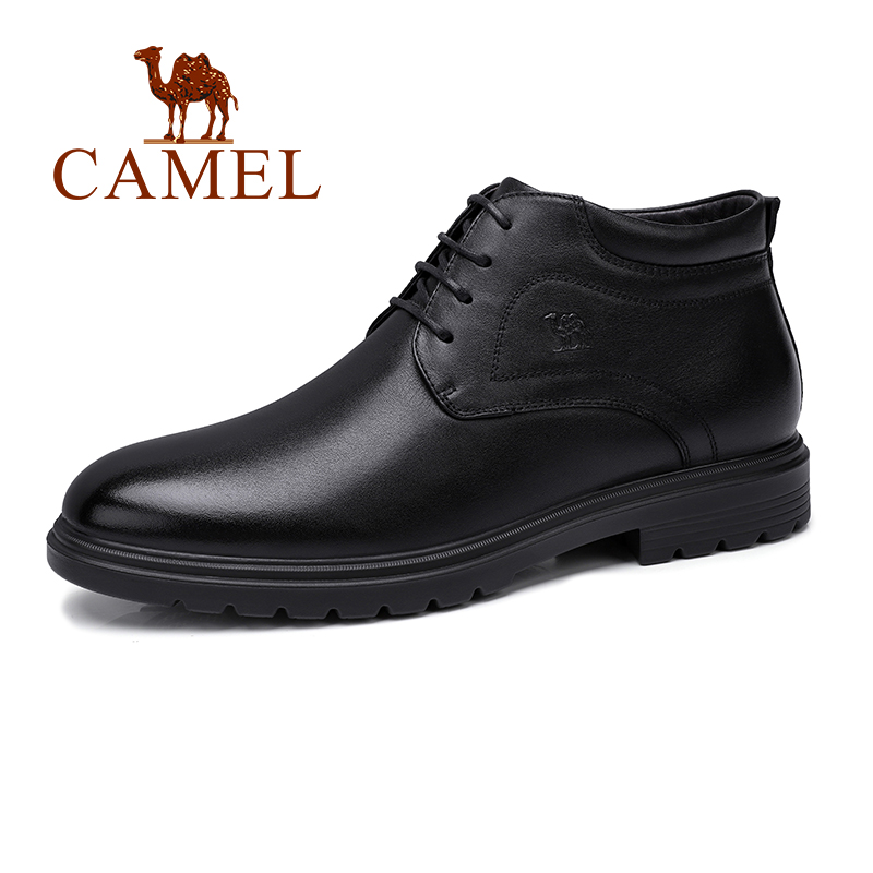Business Men Boots With Fur Natural Genuine Leather Boot Casual Non slip Lace Male Soft Napa