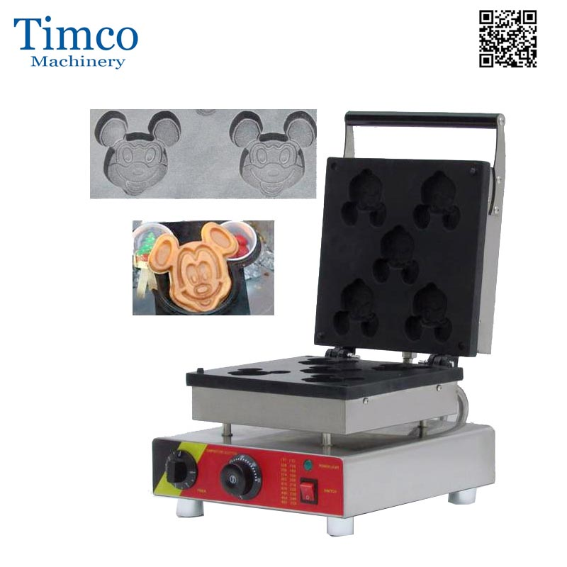 Waffle Maker Commercial Electric 5PCS Mickey Shape Waffle Making Machine