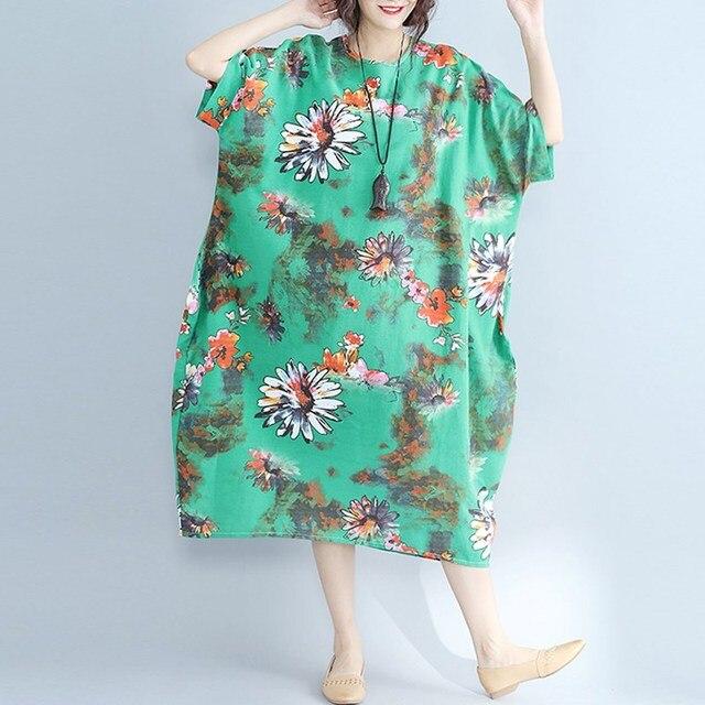 401dcdf9b1f8 2017 Women Autumn Linen Plus Size Maxi Dress Floral Print Chinese Classic  Vintage Shift Dress Half Sleeve Loose Baggy Dress