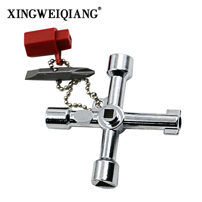 XINGWEIANG 5 In 1 Cross Switch Key Wrench Square Triangle Train Electrical Cabinet Elevator Universal 5-Way Key With Screwdriver