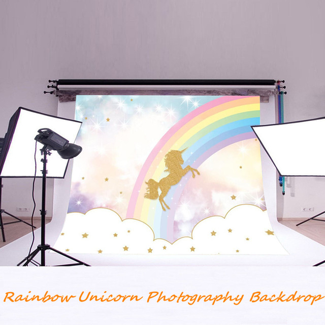 Rainbow Sky Gold Unicorns Photography Backdrops Baby Kids Photo Background  Cloth Vinyl Birthday Party Decoration Favor