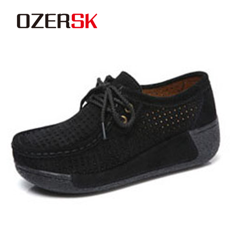 OZERSK 2018 Summer Woman   Leather     Suede   Shoes Flats Platform Creepers Cutouts Shoes Lace Up Moccasins Soft Footwear Shoes Woman