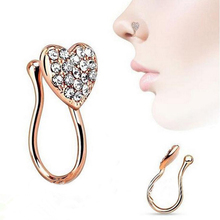 Women Fashion Glitter Rhinestone Heart Fake Non Piercing Clip-on Nose Ring Stud