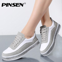 PINSEN 2017 Autumn Sneakers Women Casual Shoes Lace Up Suede Leather Flats Shoes Woman Oxfords Platform