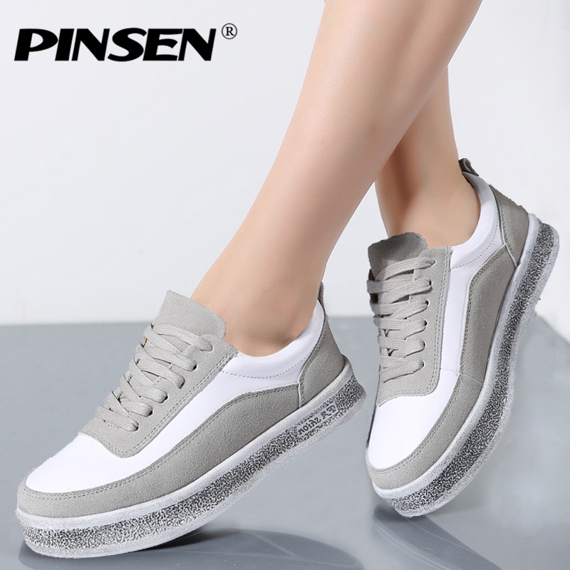 PINSEN 2018 Autumn Sneakers Women Casual Shoes Lace Up Suede Leather Flats Shoes Woman Oxfords Platform Creepers Boat Shoes foreada genuine leather shoes women flats round toe lace up oxfords shoes real leather casual boat shoes brown pink size 34 40