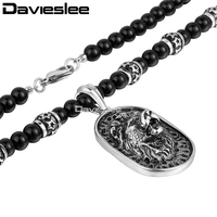 8mm 70 6cm Mens Boys Chain Black Ball Glass Bead Link 316L Stainless Steel Lion Pendant