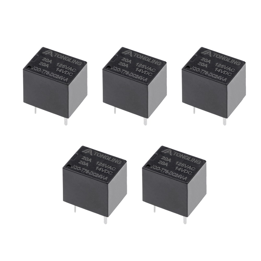 UXCELL 5 Pcs JQC-<font><b>T78</b></font>-DC24V-A <font><b>Relays</b></font> DC 24V Coil SPST 4 Pin PCB Electromagnetic Power <font><b>Relay</b></font> For Electronic Equipment Supplies image