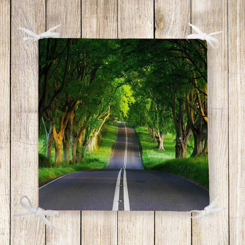 Else Green Trees Junle Highway Road 3d Print Chair Pad Seat Cushion Soft Memory Foam Full Lenght Ties Non Slip Washable Zipper