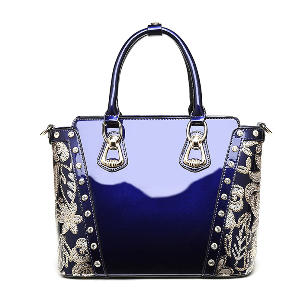 Embroidery patterns Large Capacity Ladies Genuine Leather Handbags Bright Leather Casual  Tote Shoulder Bag Women Messenger Bags