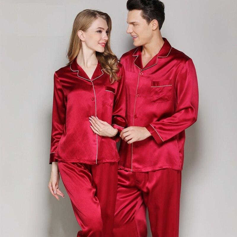 Pyjamas ensembles femme 100% soie tache solide automne femmes soie deux pièces Pyjamas ensembles nuit vêtements de nuit Homewear pyjama ensemble 2xl