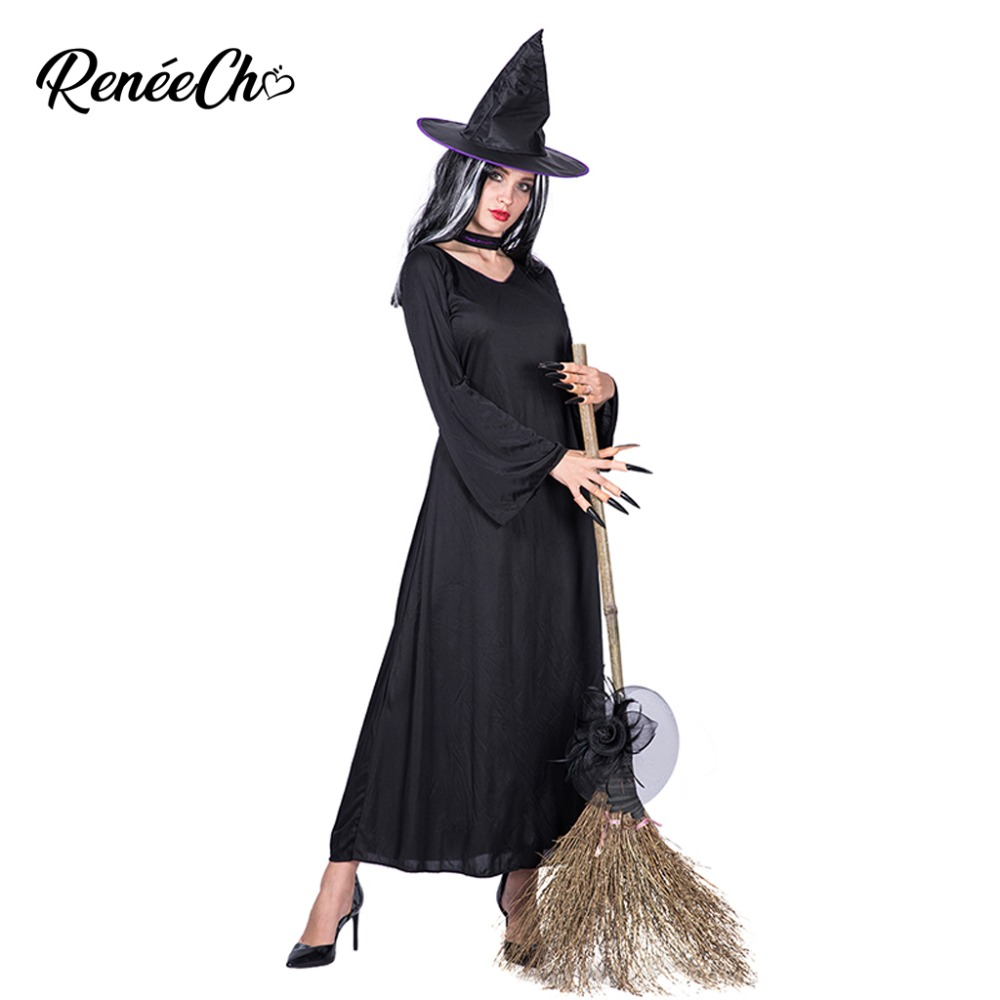 Halloween Costume For Adult Women scary Horror Witch Costume cosplay costume adultos long black Dress Hat collar full set