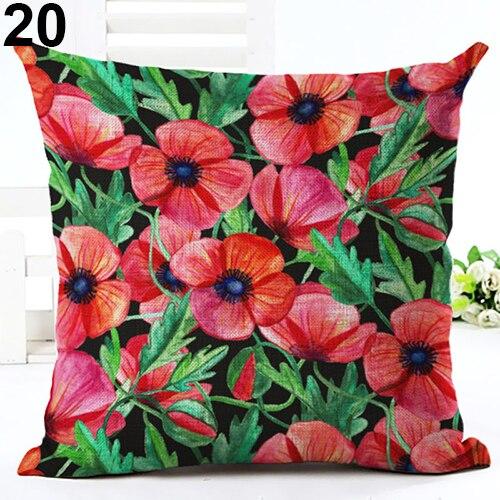 Tropical Green Plant Leaves Flower Linen Monstera Linen Pillow Case Decorative