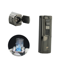цена на Cohiba Windproof Refillable Cigarette Jet Lighter 3 Torch Flame Butane Fuel Cigar Lighter With cigar punch smoke NO Gas