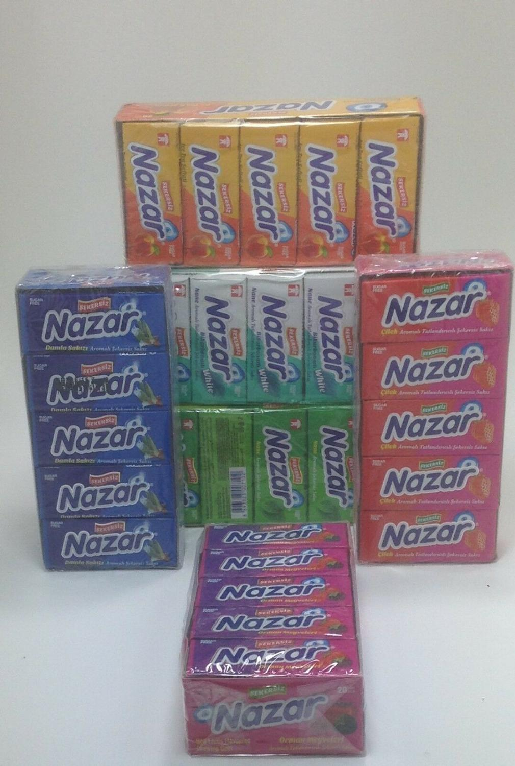 Nazar sugarless chewing gum , sugar free , 6 tastes 100 piece , delicious taste