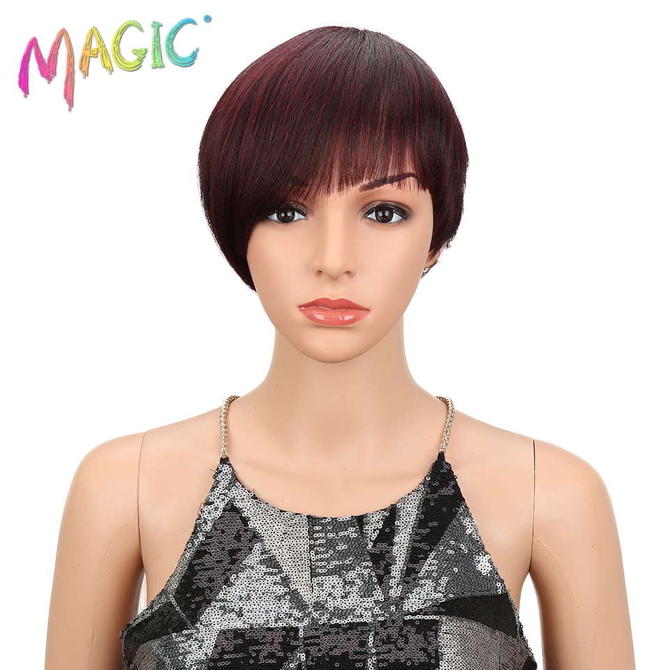 MAGIC Hair Short Straight Synthetic Wigs For Women 8 Inch Black Red Wigs Heat Resistant Hair Cosplay Heat Resistant Wigs
