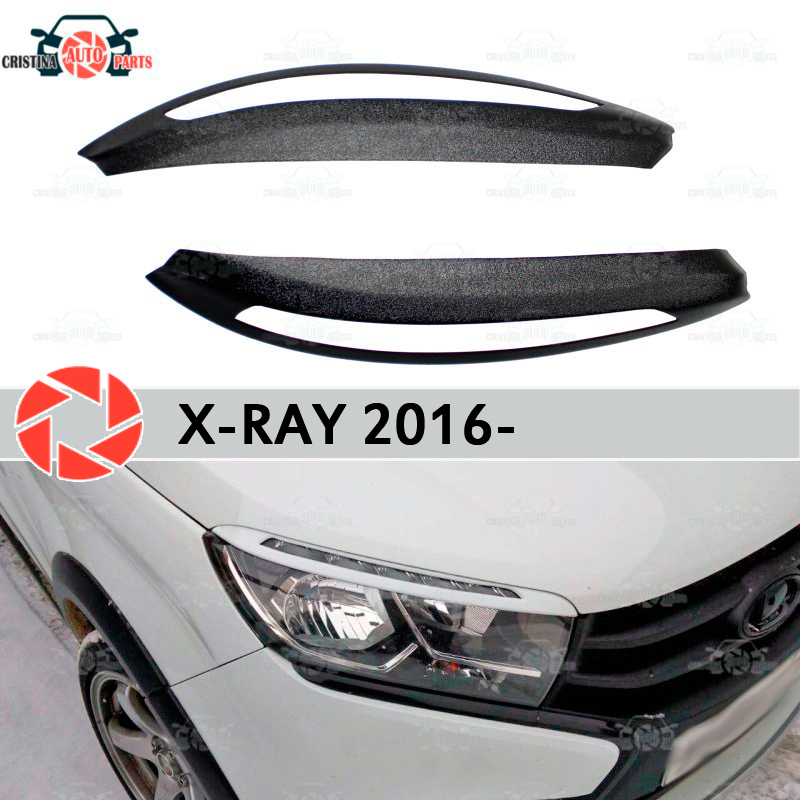 For Lada X-Ray 2016- eyebrows for headlights cilia eyelash plastic ABS moldings decoration trim covers car styling tuning black sexy eyelash lace trim high waist lingerie sets