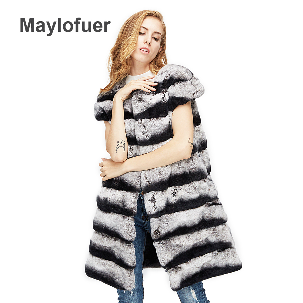 Maylofuer Real rex rabbit fur lady vest chinchila rabbit fur waistcoat women natural fur long design