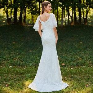 Image 3 - Dressv ivory mermaid lace wedding dress sweetheart neck short sleeves floor length bridal outdoor&church wedding dresses