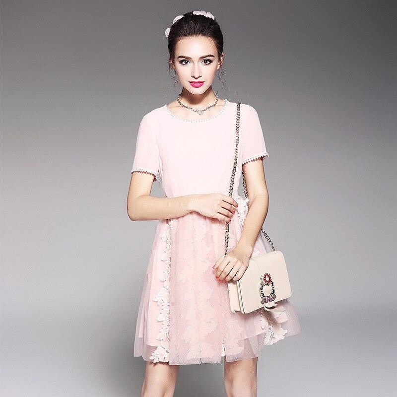 2018 Patchwork Taille Pourpre Femmes Designer Manches Mini Dentelle Maille Robes Piste Plus Élégante Courtes La Équipée Robe Rose À 5xl Dames YmI6fgvb7y