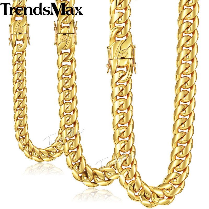 Trendsmax Miami Curb Cuban Mens Necklace Chain 316L Stainless Steel Hip Hop Silver Gold Color 8/12/14mm KHNM19 trendsmax ring for men 316l stainless steel gold silver color illuminati pyramid eye ring hip hop jewelry accessories hr365