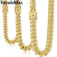 Trendsmax Miami cubano mens collar cadena 316L Acero inoxidable hip hop plata oro color 8/12/14 MM KHNM19
