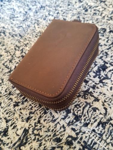 SIMLINE Genuine Leather Key Wallet Men Vintage Double Zipper Car Key Wallets Holder Holders Coin Purse Bag Organizer Housekeeper photo review