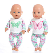 Born New Baby Fit 18 inch 40-43cm Doll Clothes digital salmon swimsuit Butterfly accessories For Gift