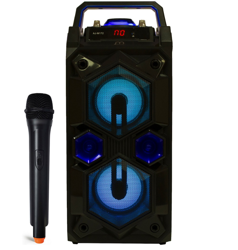 Karaoke Speaker with Wireless Bluetooth Microphone Portable FM Radio USB TF Card Rechargeable with Remote yoobao ybl 202 portable wireless bluetooth v3 0 speaker w tf fm radio micro usb blue