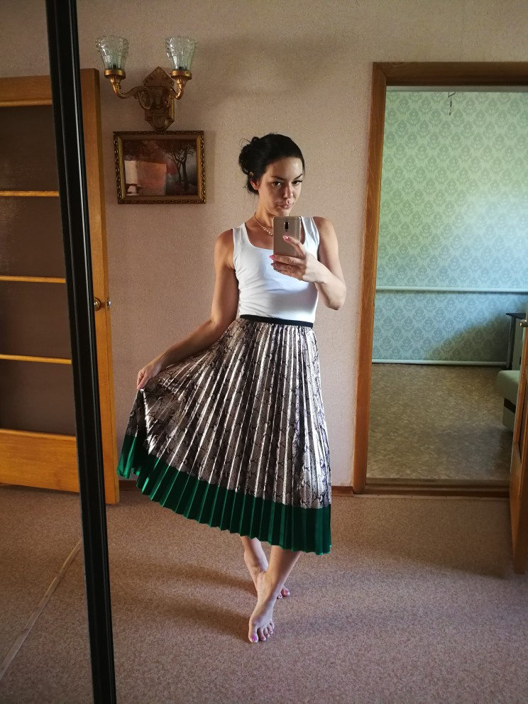 Spring New Coming Western Style Snakeskin Pattern Contrast Stitching Pleated Skirts High Street Style A Line Skirts photo review