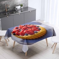 Else Red Strawberry Pie Brown Cakes 3d Print Washable Dustproof Thicken Cotton Cloth Rectangular Square Kitchen Tablecloth