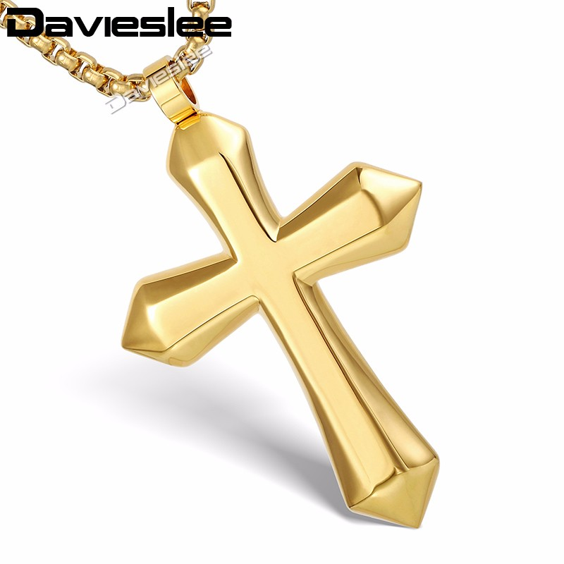 Davieslee Boys Mens Chain Polished Cross Pendant Necklace Stainless Steel Round Box Link Gold Silver Color Lkpm130 Cross Pendant Men Chainnecklace Stainless Steel Aliexpress