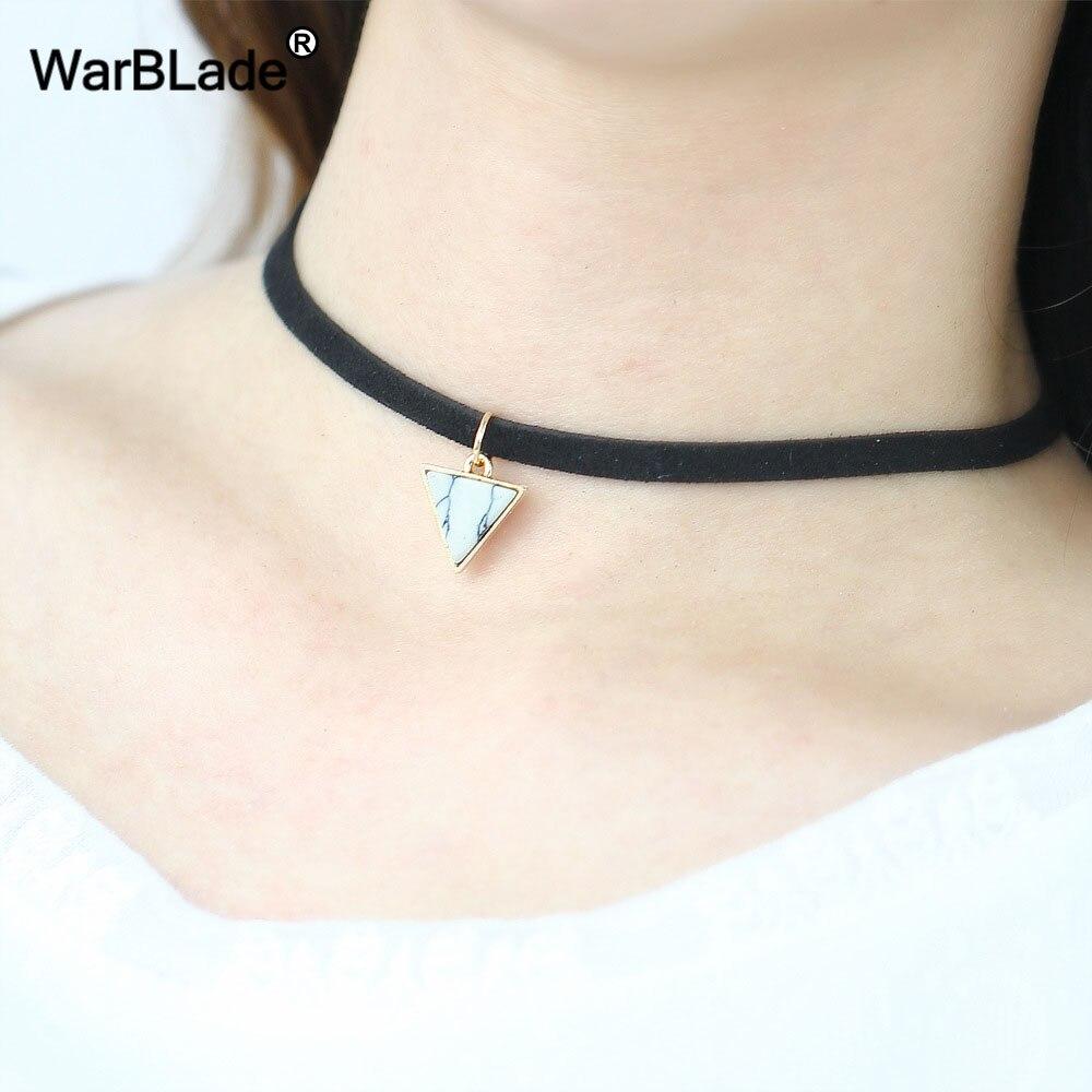 Black Velvet Ribbon Crystal Hexagonal Column Natural Stone Punk Choker Necklace