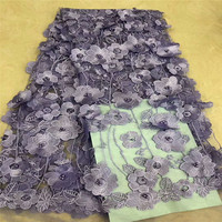 Nigeria Bridal Fashion Guipure Lace Fabric Beaded 3d Flower African Wedding Dress High Quality Purple Cord Lace Fabric X996 2
