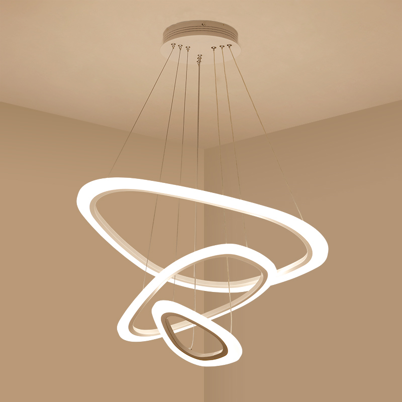 Modern LED round chandelier simple living room acrylic personality creative restaurant light fashion art