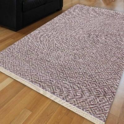Else  Purple White Nordec Locked Ikat Ethnic Scandinav Modern Anti Slip Kilim Washable Decorative Plain Paint Woven Carpet Rug