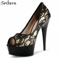 Sorbern Mature Lace Peep Toe Women Pump High Heels Thick Platform Shoes Ladies Office Shoes Women Sexy Heels Black Pumps