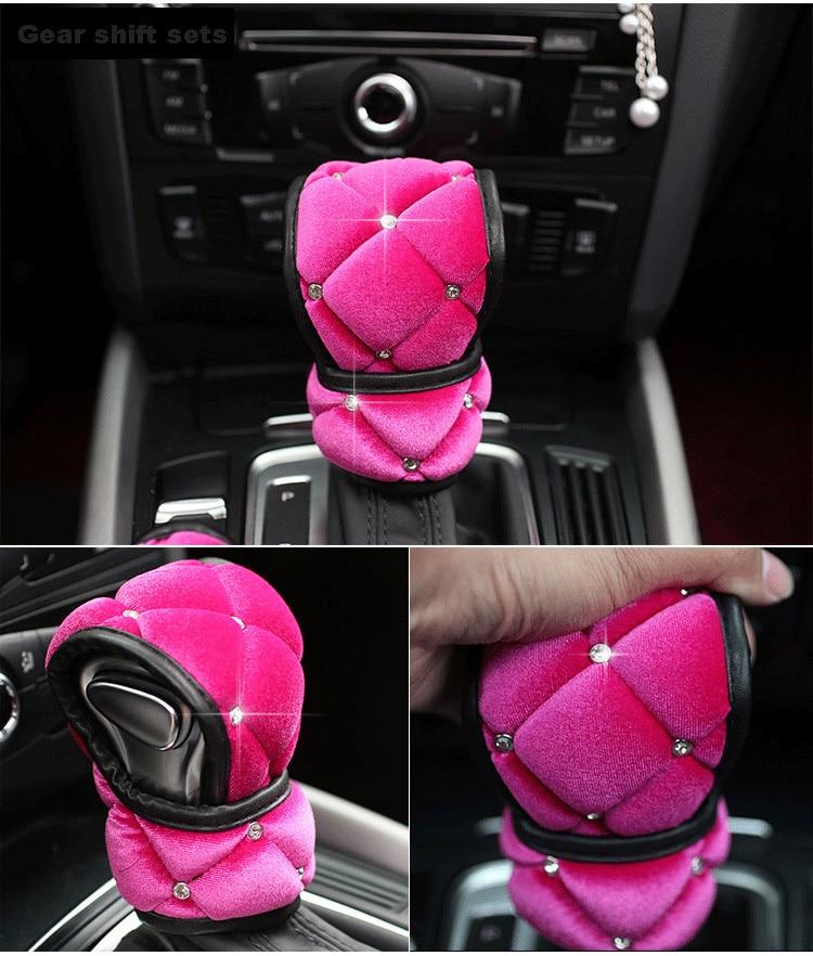 High-Quality-Plush-Car-Seat-Belt-Cover-Soft-Shoulder-Pad-Crystal-HandBrake-Gear-Shifter-Cover-Car-Styling-Interior-2